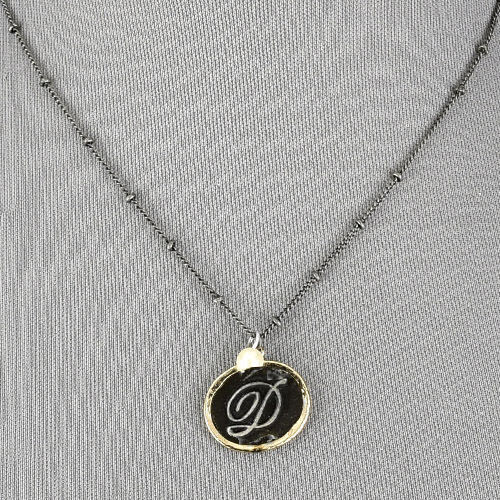 Black Chain Gold Accent Initial D Pendant Pearl Charm