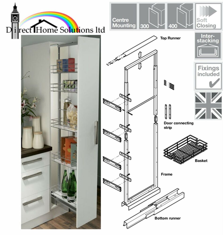 Hafele pull out larder soft close 1700 2200mm width 300mm for 300mm tall kitchen unit