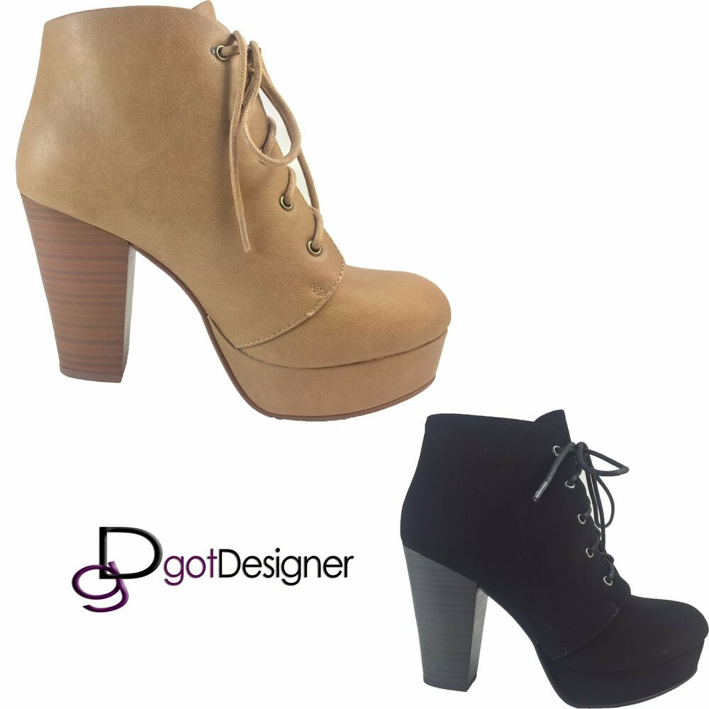 NEW Womens Fashion Booties Ankle High Heels Wedge Lace Up ...