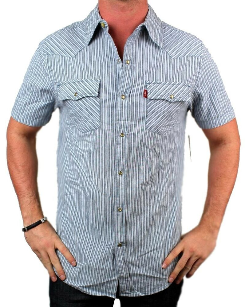 New nwt levi 39 s men 39 s cotton classic short sleeve button up for Cotton button up shirt