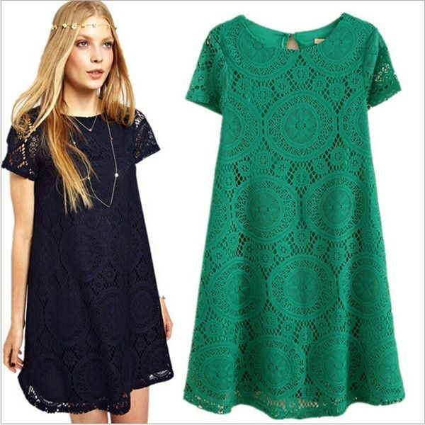 Sexy Women Casual Lace Floral Dress Short Sleeve Loose ...