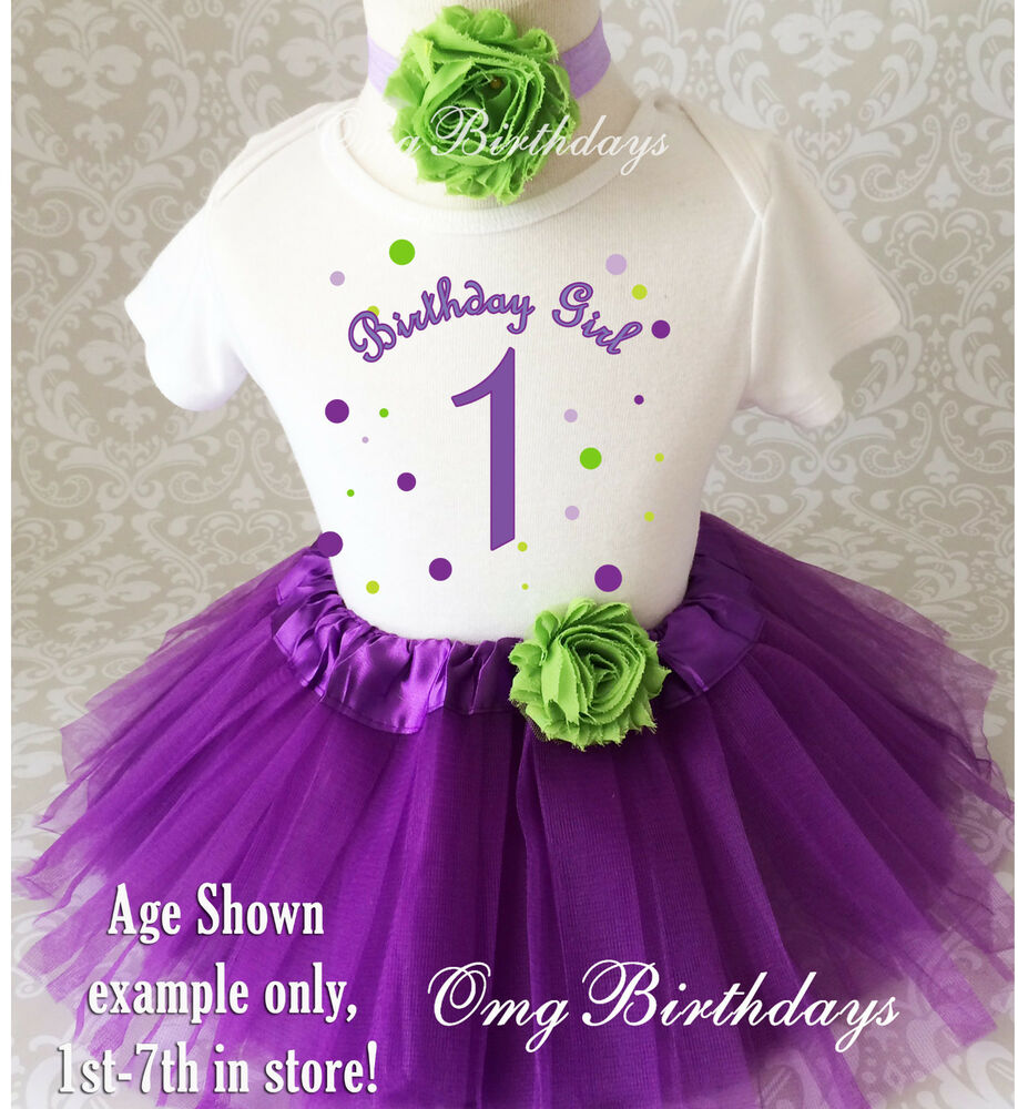 Toddler Tutus Toddler Tutu Outfits Toddler Birthday Tutus: Purple Green Dots Baby Girl 1st First Birthday Tutu Outfit