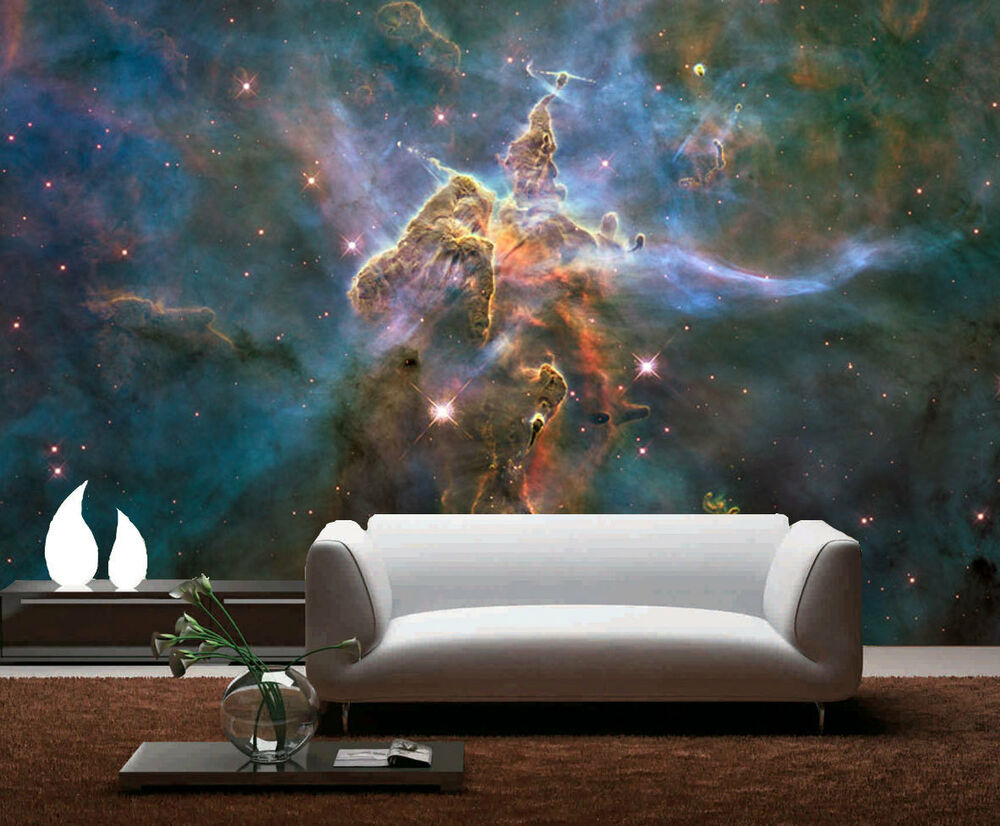 Interstellar dust mystic cosmic mountait 3d full wall for Home wallpaper ebay