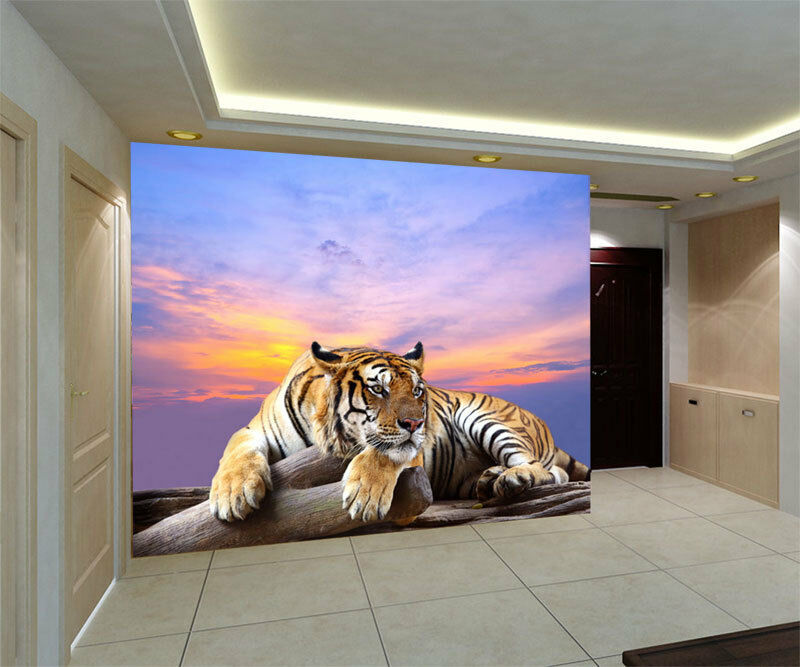 Tiger live wildlife 3d full wall mural large print for Digital print wallpaper mural
