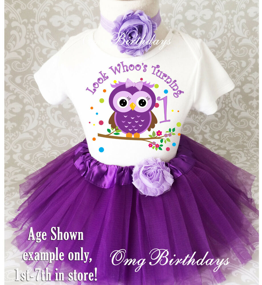 Purple Owl Look Whos Baby Girl 1st First Birthday Tutu Outfit Shirt Set Party