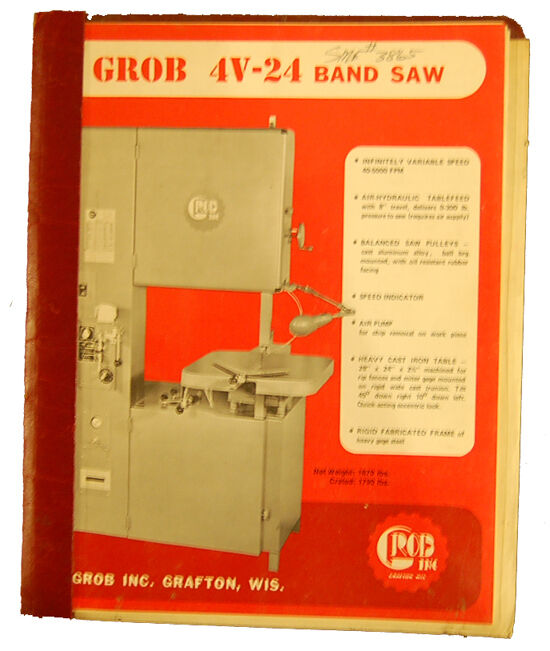 grob 4v 24 band saw operations lubrication wiring and. Black Bedroom Furniture Sets. Home Design Ideas