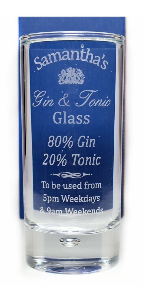 New Personalised Gin Tonic Highball Glass Gift For