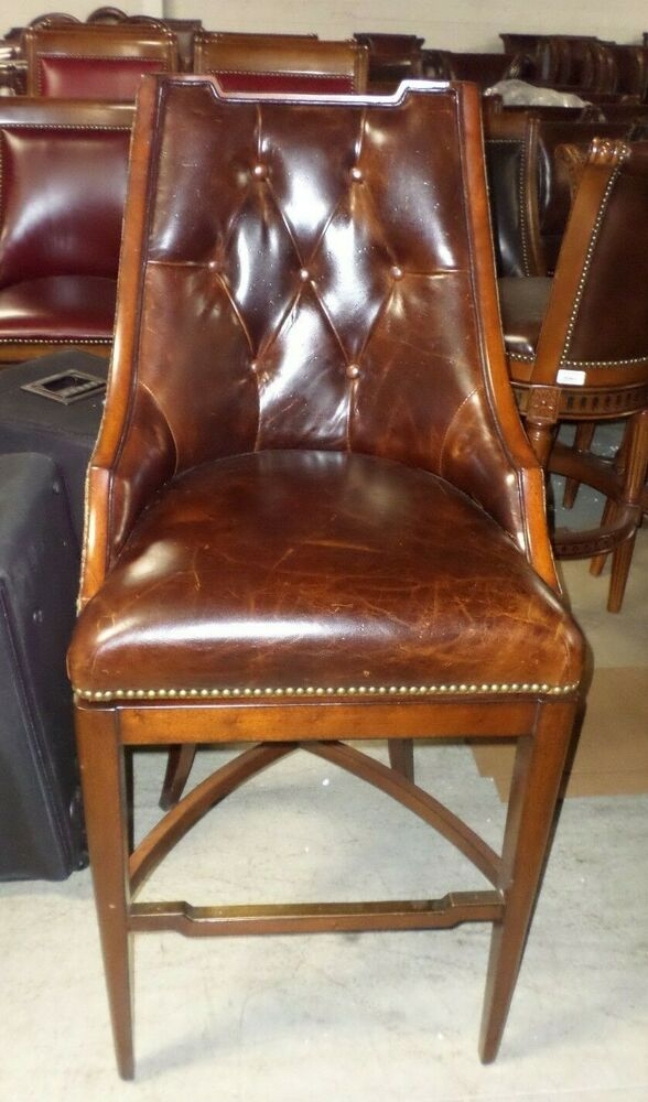 Frontgate Bradford Tufted Brown Leather Barstool Bar 30