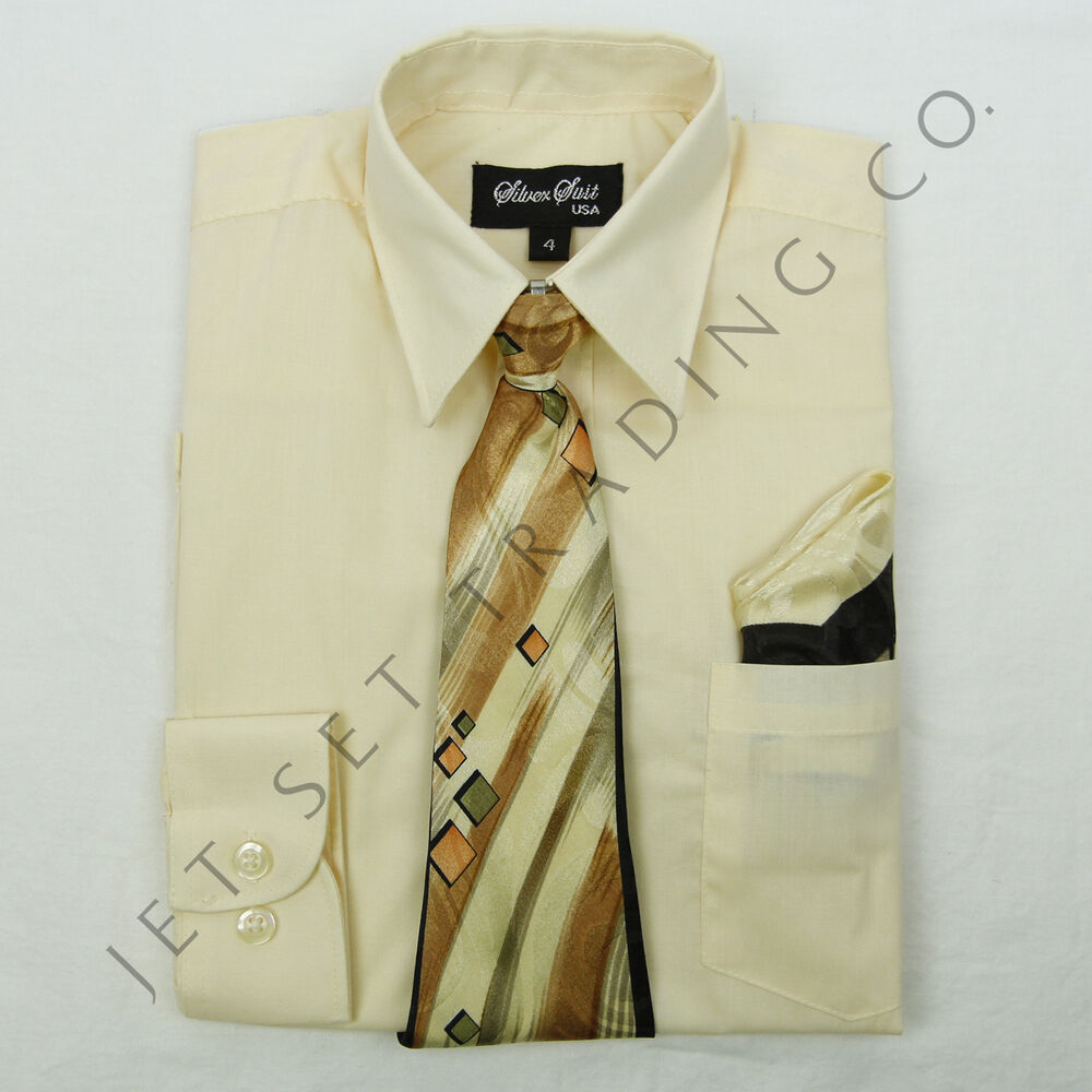 Boys corn dress shirt with matching tie sizes 4 to 20 ebay for Matching ties with shirts