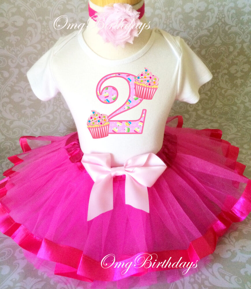 Cupcake Pink Cute Number 2nd Second Birthday Tutu Shirt