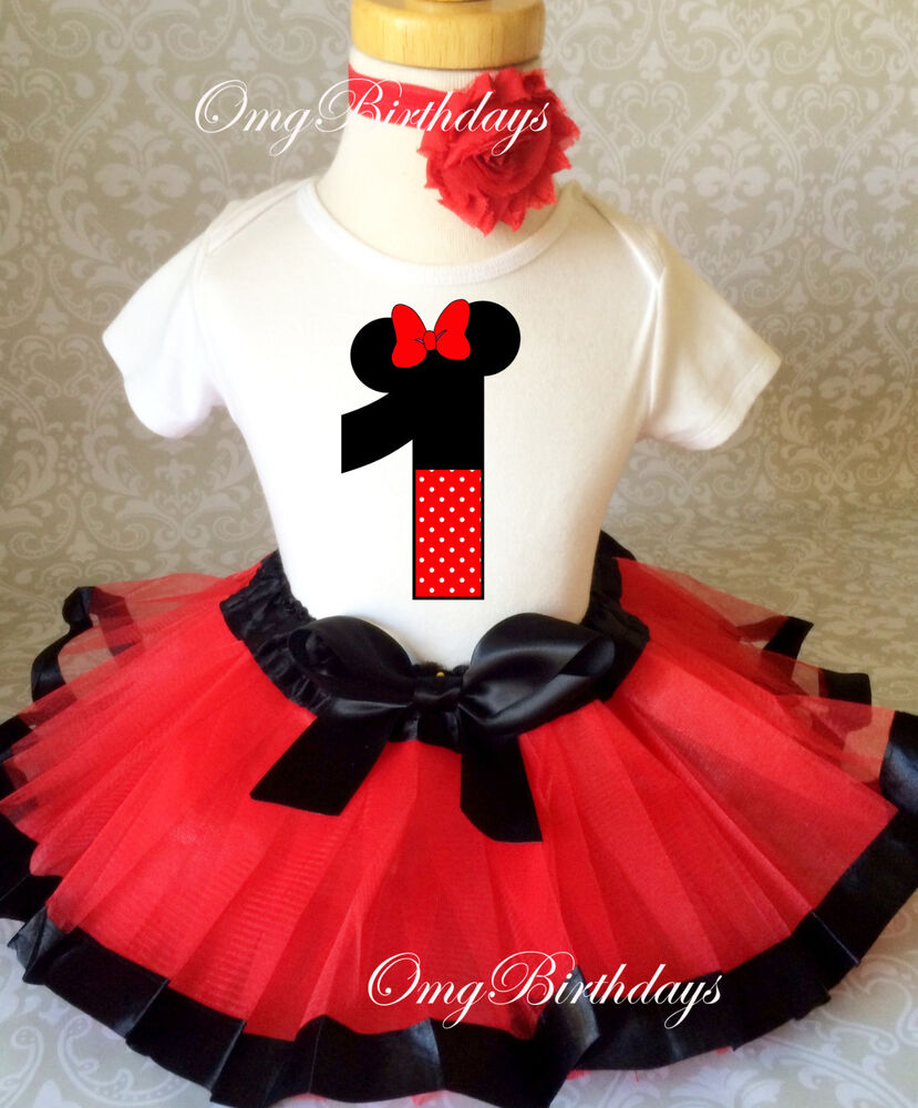 Birthday Party Outfit: Red Black Minnie Mouse 1st First Birthday Ribbon Tutu