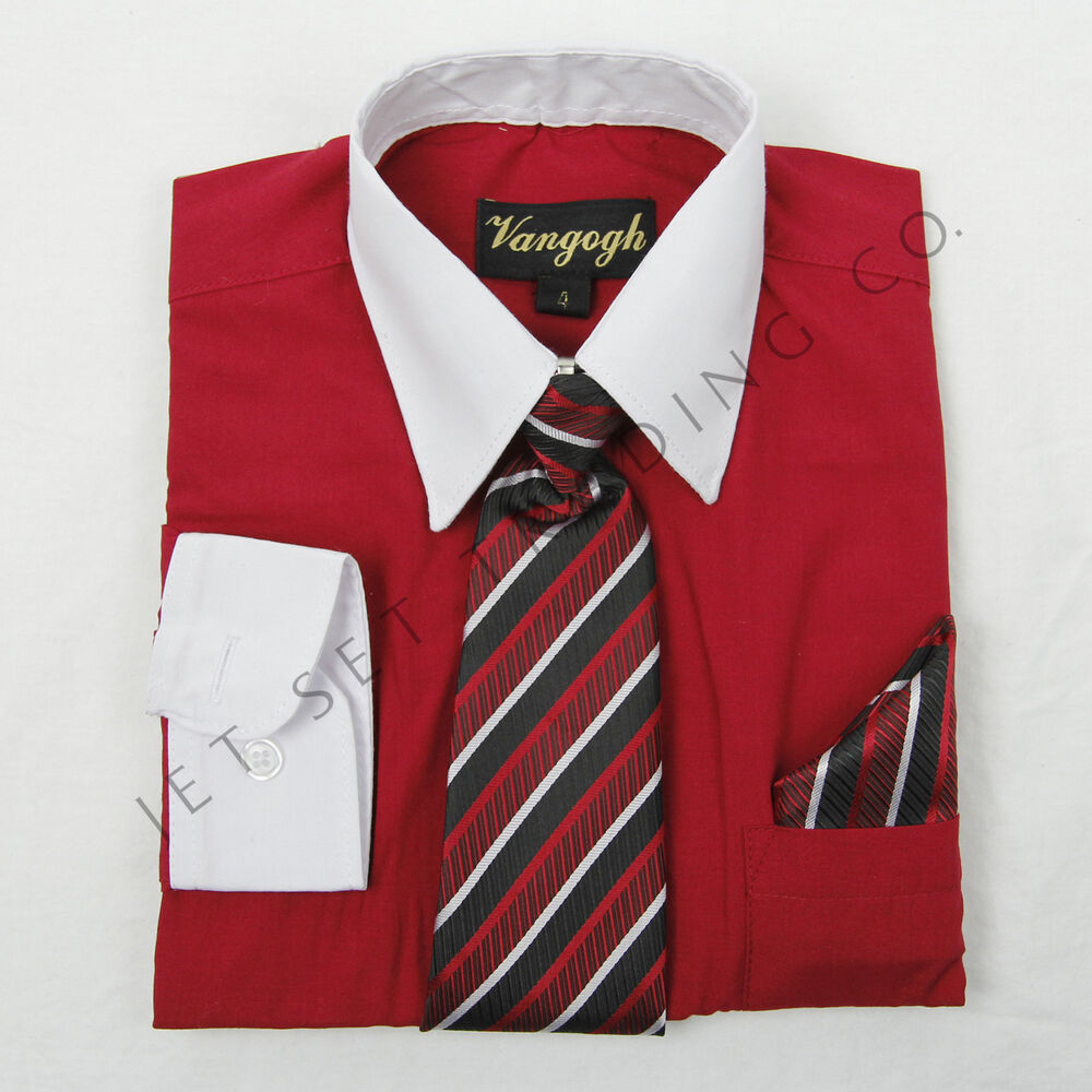 Boys Red Dress Shirt White Contrast With Tie Hankie Long Sleeves