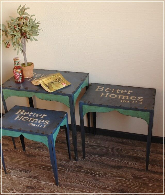 beistelltisch couchtisch mit schrift vintage metall blau t rkis landhaus shabby ebay. Black Bedroom Furniture Sets. Home Design Ideas