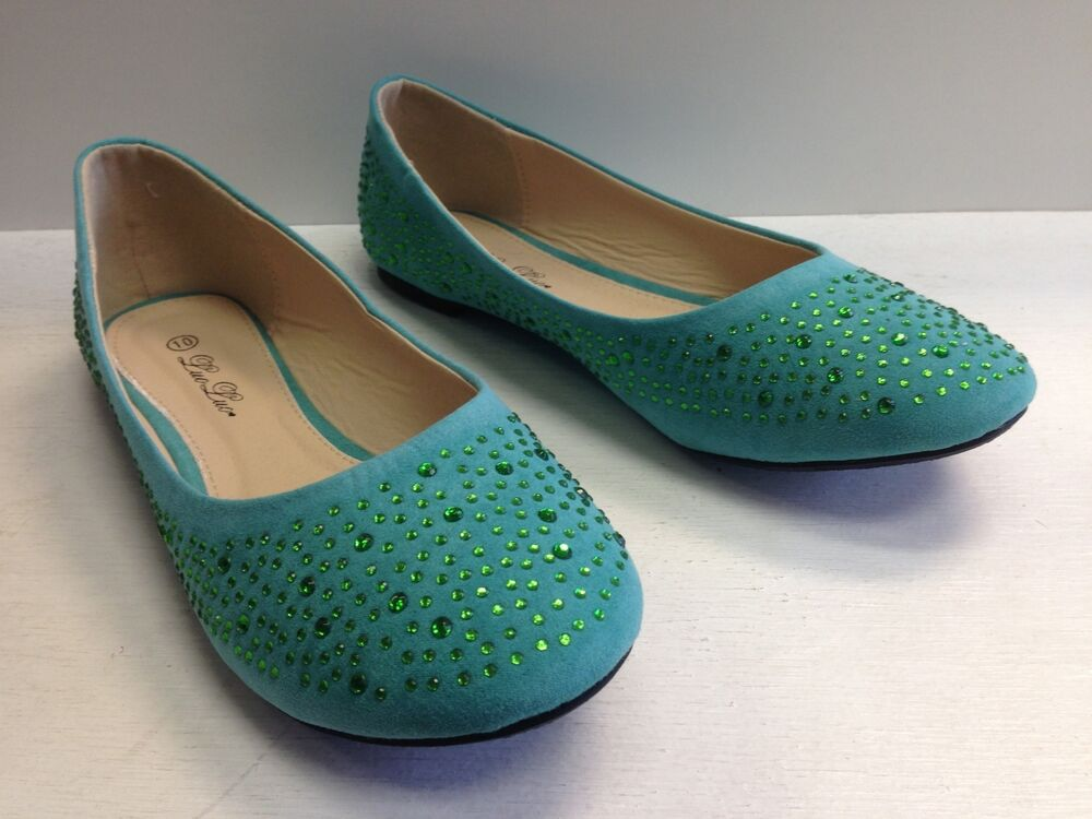 Womens Turquoise Flat Shoes