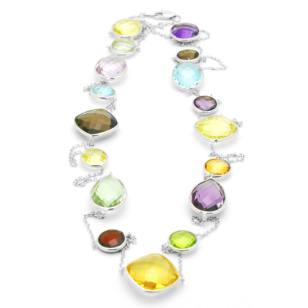 14k white gold statement size multi colored gemstone