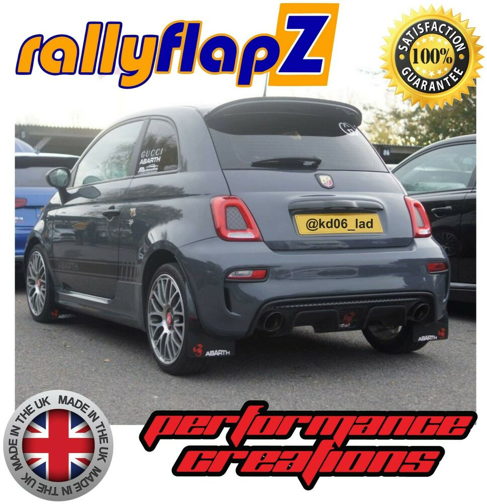 rallyflapz fiat 500 abarth mudflaps fixings kit black white red logo 4mm pvc 5060347297605. Black Bedroom Furniture Sets. Home Design Ideas