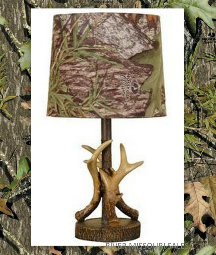 deer antler accent lamp dark woodtone 16 w camo pattern lamp shade