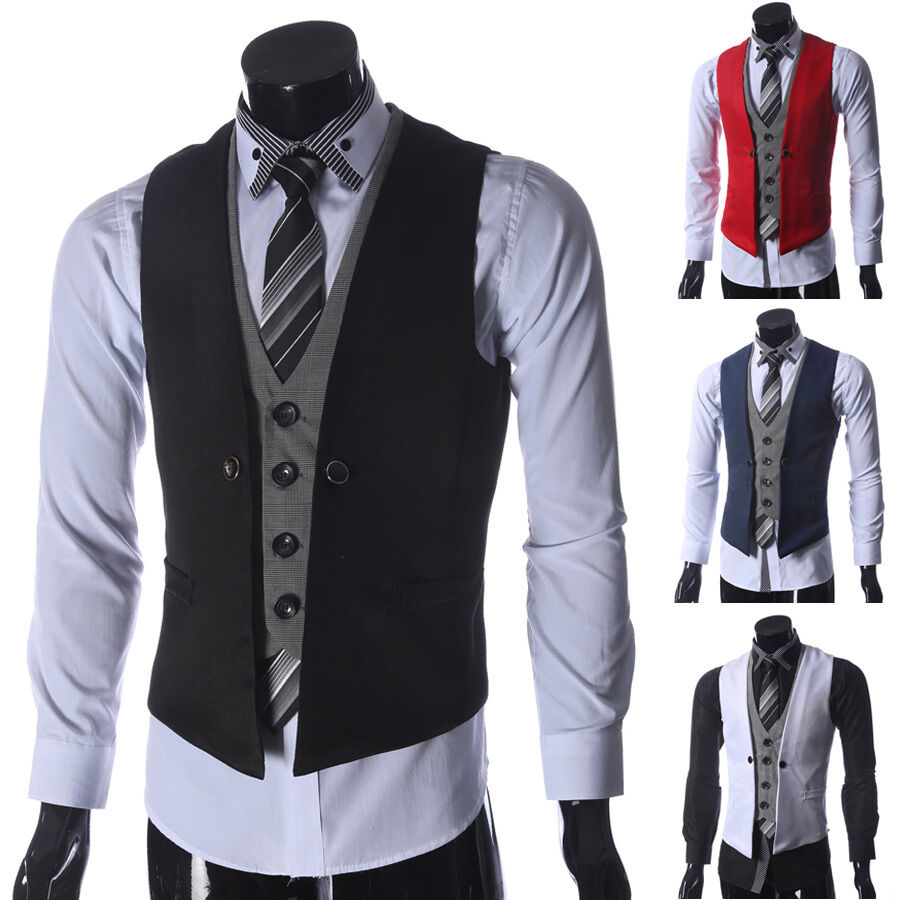 sale herren anzug weste sakko jacke blazer slim fit hochzeit business. Black Bedroom Furniture Sets. Home Design Ideas