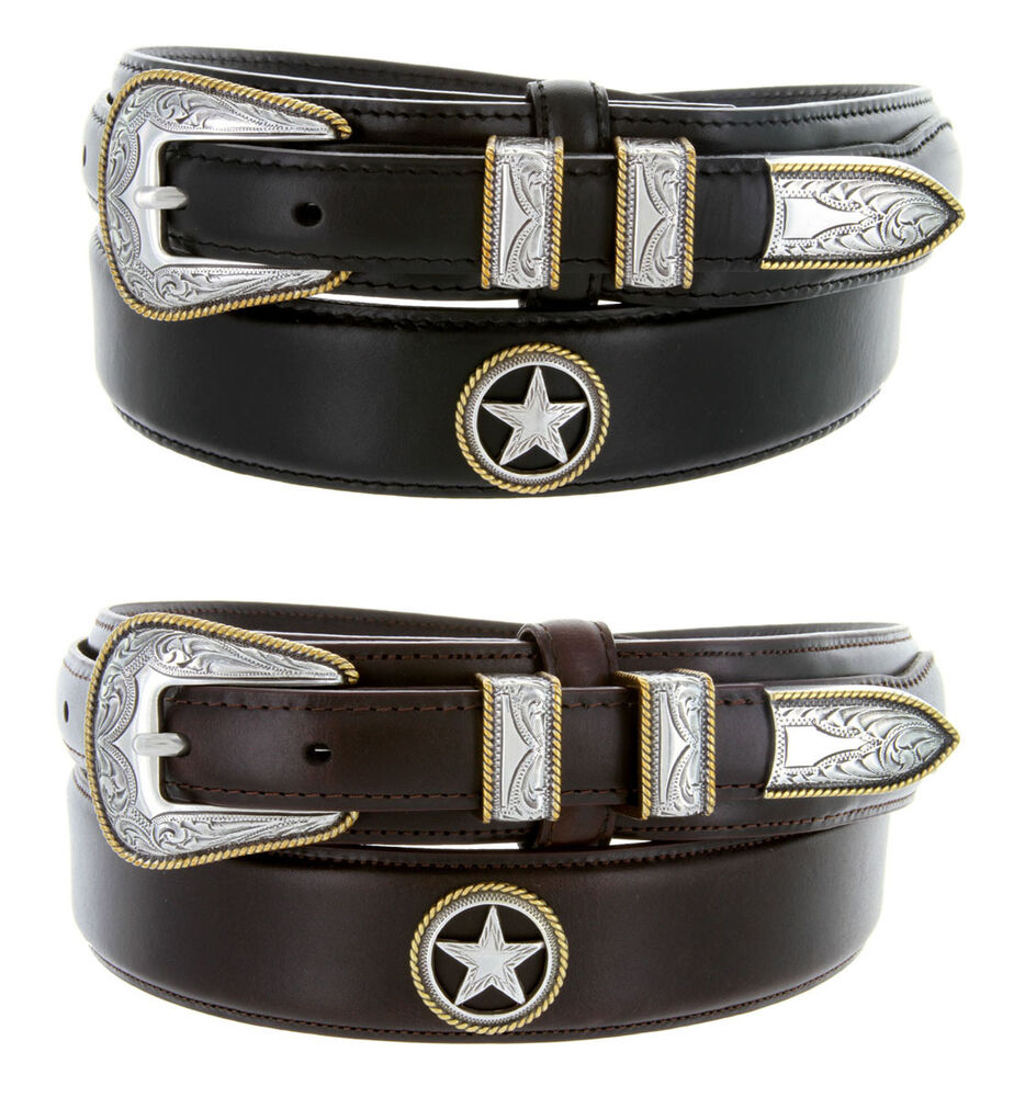 gold western tanned genuine leather ranger belt 1