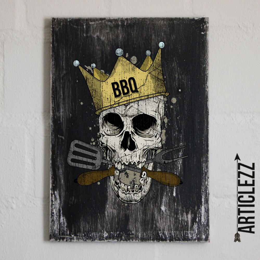 vintage holzschild bbq grill skull shabby totenkopf. Black Bedroom Furniture Sets. Home Design Ideas