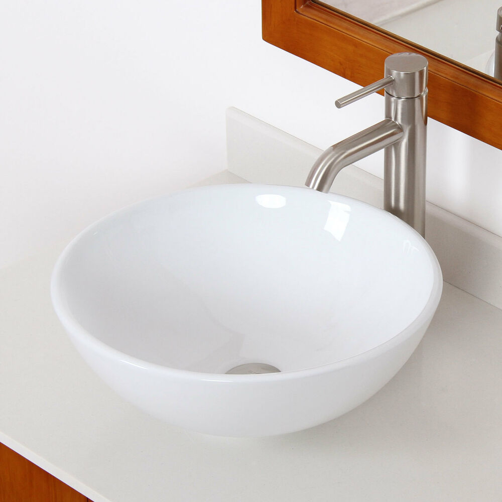elite bathroom bowl white ceramic vessel sink amp brushed 20030