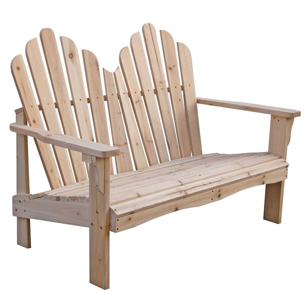 Brand New Yellow Cedar Wood Outdoor Patio 2 Seat Adirondack Chair Style Loveseat Ebay