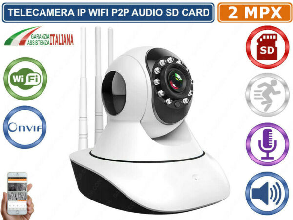 TELECAMERA MOTORIZZATA IP CAM 2 MPX 1080P WIRELESS WIFI REGISTRA MICRO SD ONVIF