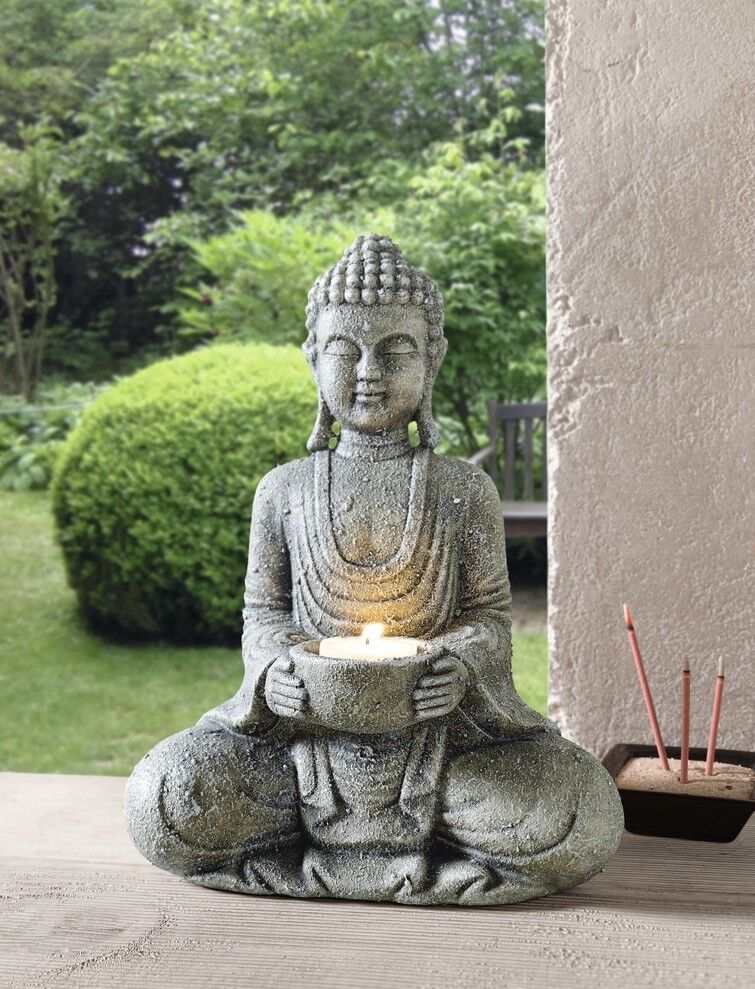 buddha kerzenhalter dekofigur buddhastatue feng shui kerze kerzenst nder garten ebay. Black Bedroom Furniture Sets. Home Design Ideas