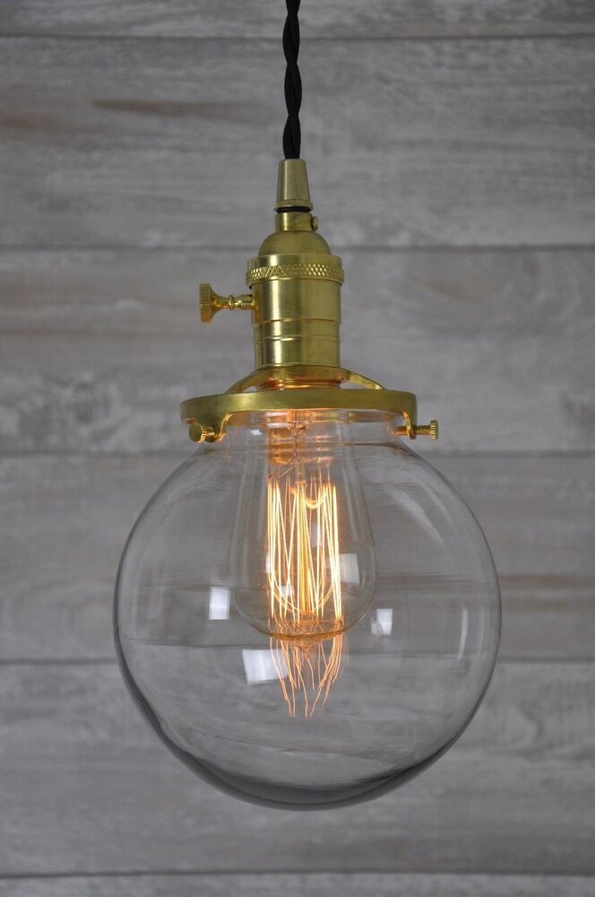 Clear Glass Globe Pendant Light Unfinished Brass Twisted Wire Vintage Quality eBay