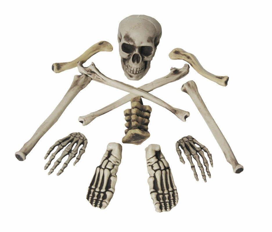 Bag of bones skull graveyard skeleton set halloween horror for Bag of bones halloween decoration