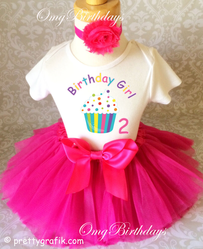 Cupcake Rainbow Pink Second 2nd Birthday Shirt Tutu Outfit