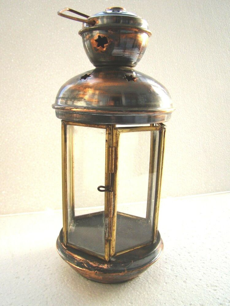 Traditional Handmade Copper Turkish Ottoman Authentique Candle Lantern Lamp