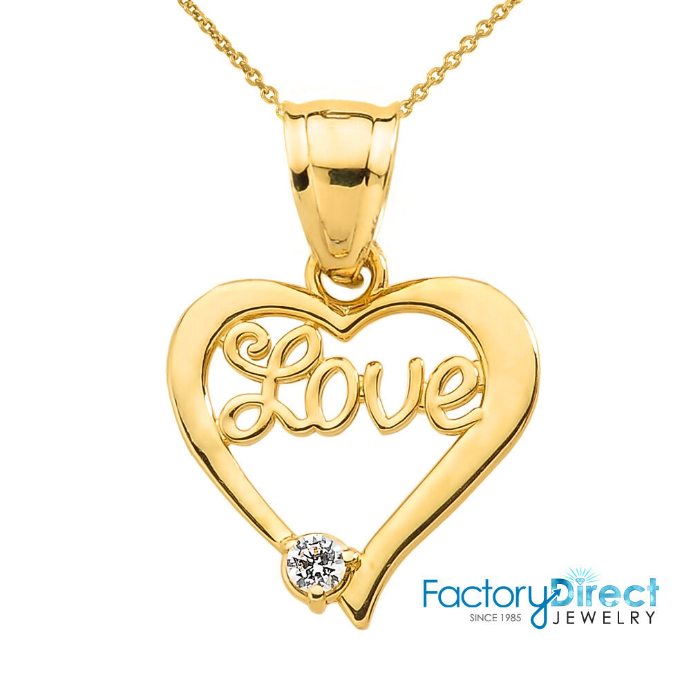 Valentines day gifts 10k gold love script diamond heart for 10k gold jewelry
