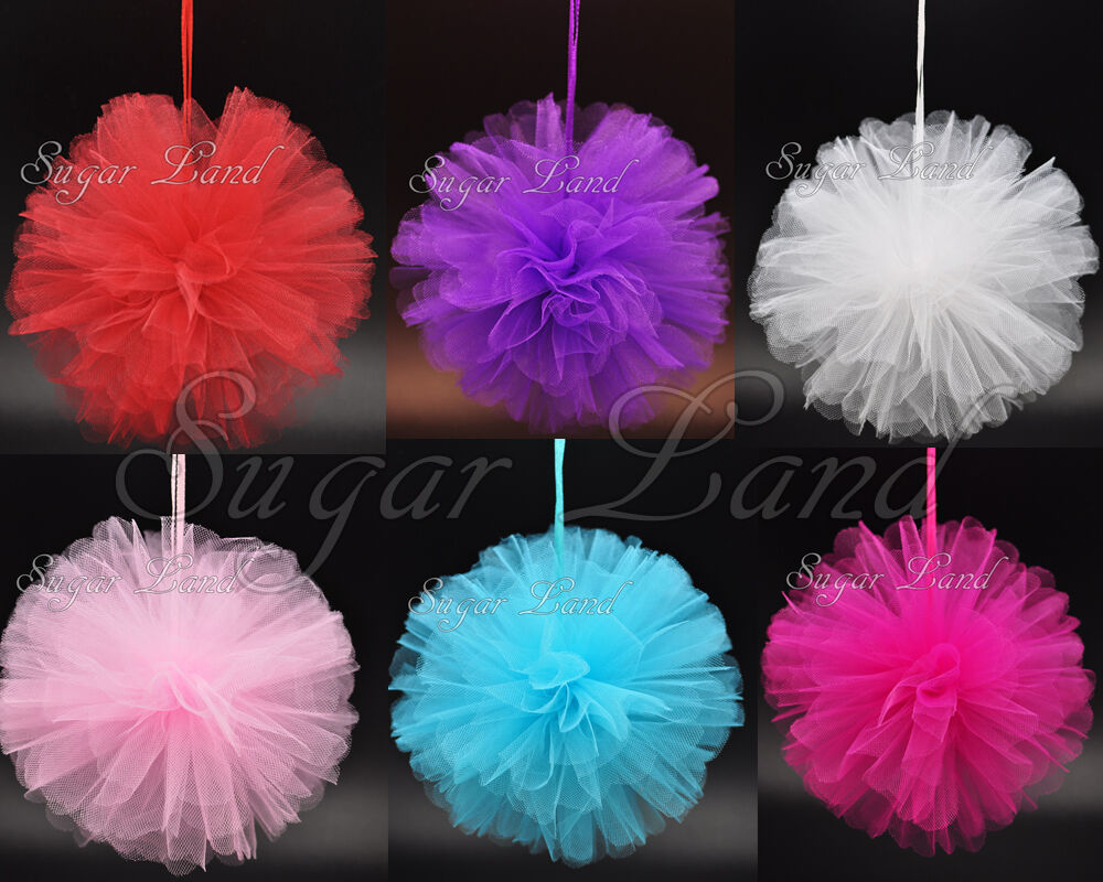 4 pcs tulle pom flowers balls wedding party decorations