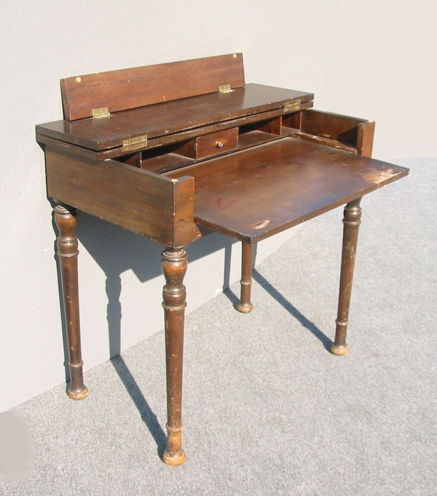 Rustic Antique Folding Top Writing Desk W Pull Out Table