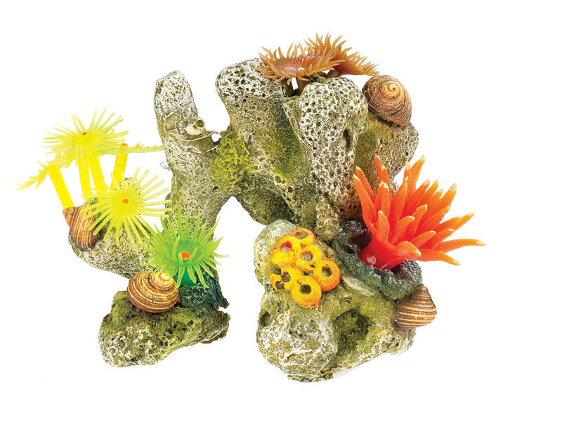 Coral stone with plants anemones aquarium decoration fish for Aquarium decoration ornaments