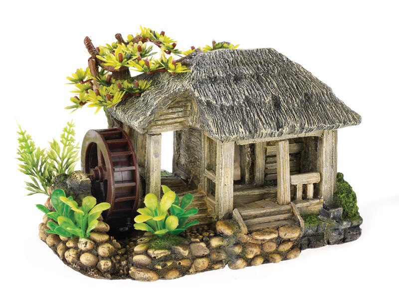 Water mill with air operated wheel aquarium ornament fish for Aquarium house decoration