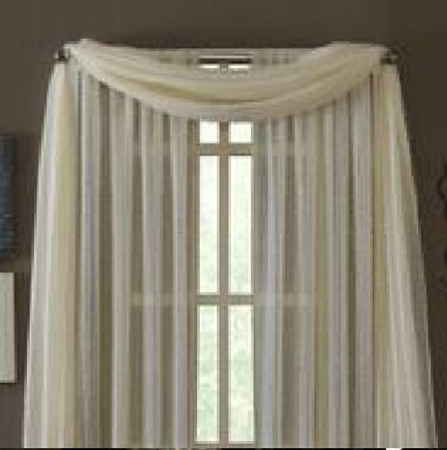 Beige Scarf Sheer Voile Window Curtain Drapes Valance Many Sizes ...