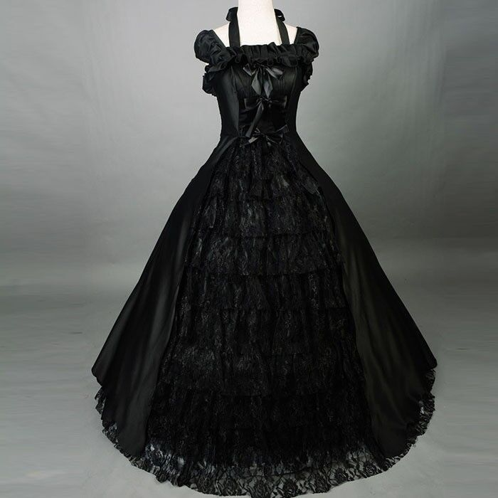 Plus Size Gothic Wedding Dress: Vintage Black Lace Ball Gown Gothic Wedding Dresses Plus