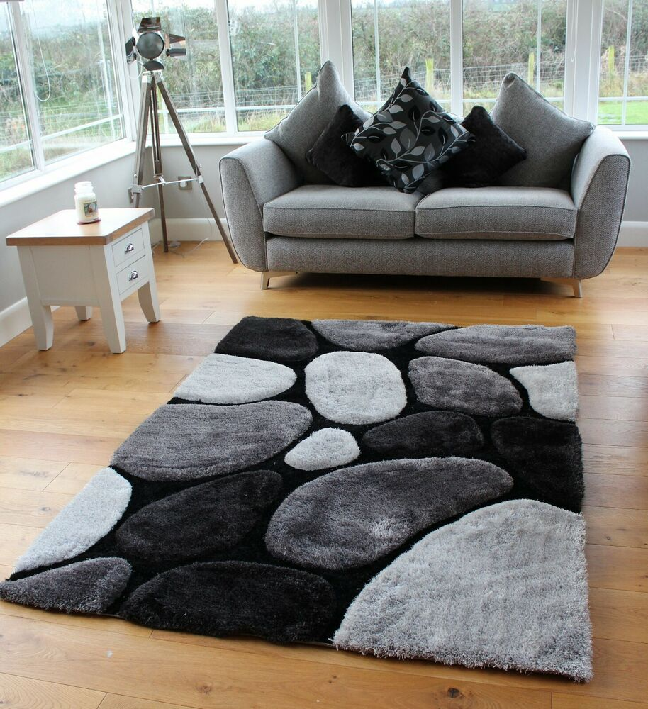 New Thick Silky Soft Shaggy Rug Design Modern Black Silver