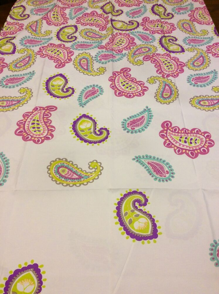 Paisley fabric shower curtain multi colors on white very pretty