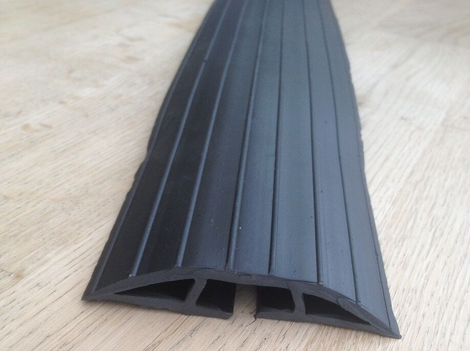 extra long 2m black rubber floor cable wire safety cover tidy protector ebay. Black Bedroom Furniture Sets. Home Design Ideas