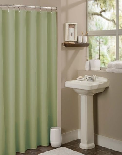... WATER REPELANT BATHROOM SHOWER CURTAIN PLASTIC LINER SAGE GREEN | eBay