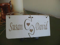 Personalised Wooden Sign Name Plaque Shabby Unique Wedding Valentines Love