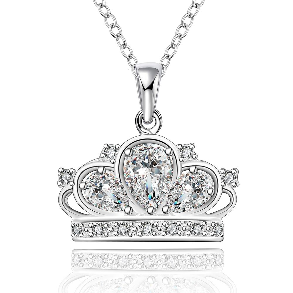 Women 925 Sterling Silver Plated Crown Fashion Pendant