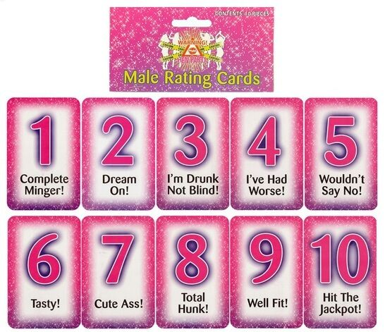 10 PK HEN PARTY HEN DO MALE RATING CARDS ACCESSORIES NIGHT
