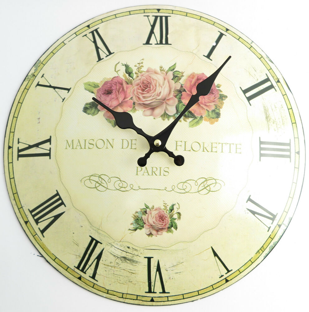 wanduhr rosen 2 nostalgie shabby chic rose metall gew lbtes blech landhausstil ebay. Black Bedroom Furniture Sets. Home Design Ideas