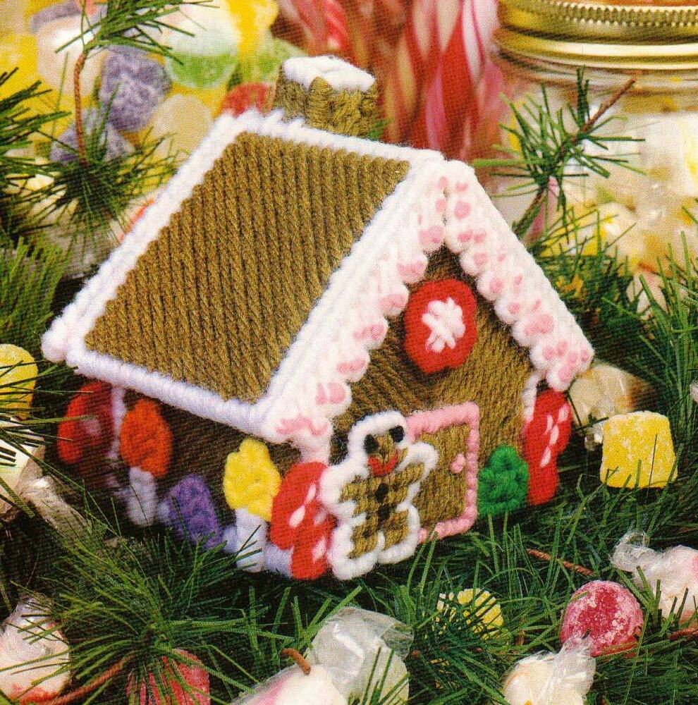 GINGERBREAD HOUSE CHRISTMAS ORNAMENT PLASTIC CANVAS ...