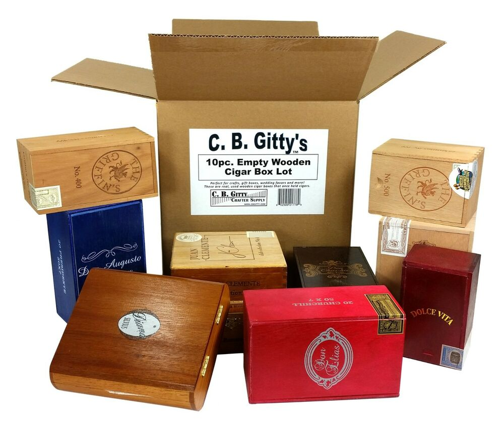 10pc Lot Of Empty Wooden Cigar Boxes Smaller Sizes