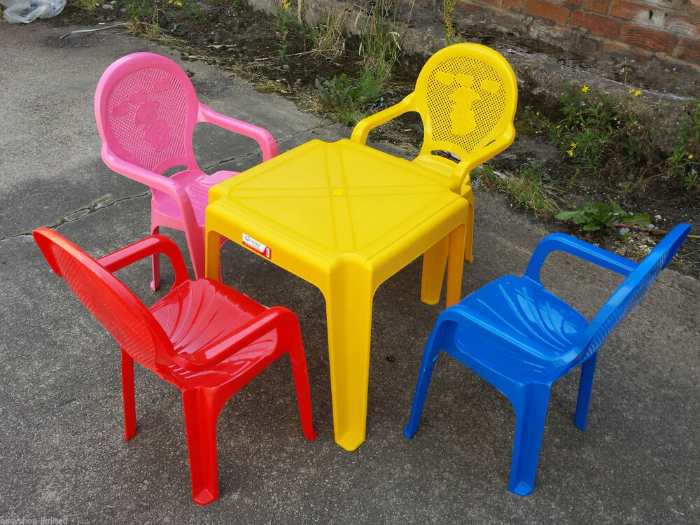Kids Set Of Childrens Kids Plastic Table And Chairs Nursery Sets Outdoor New Ebay